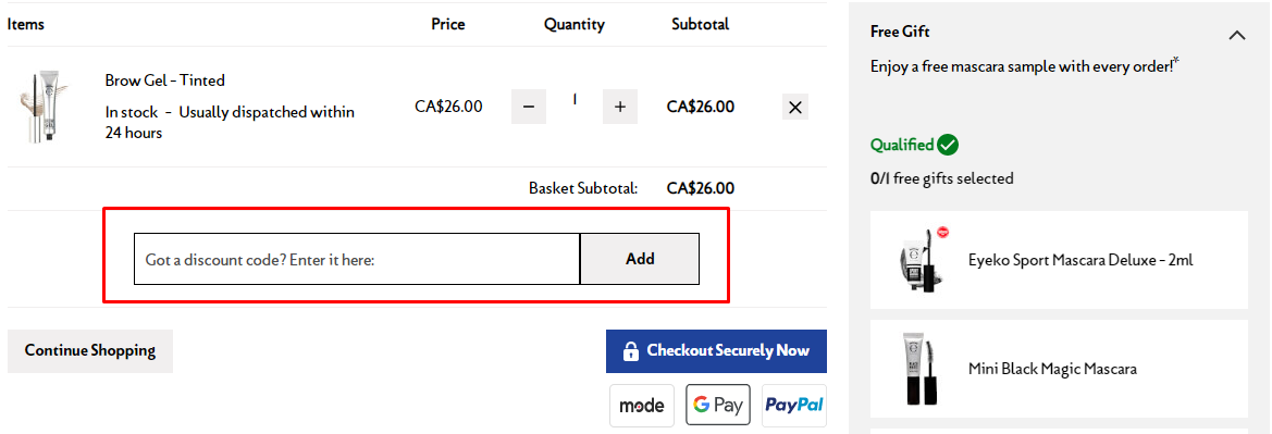 How do I use my Eyeko discount code?