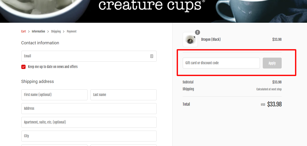 How do I use my creature cups discount code?