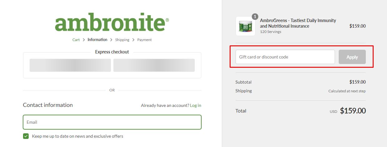 How do I use my Ambronite discount code?