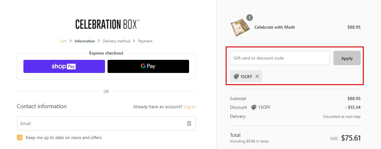 How do I use my Celebration Box discount code?