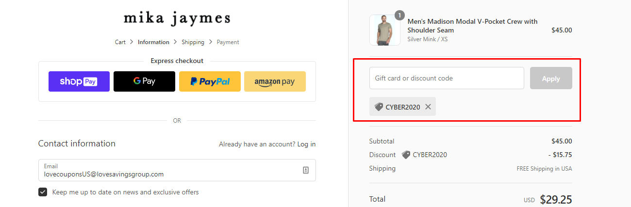 How do I use my Mika Jaymes discount code?
