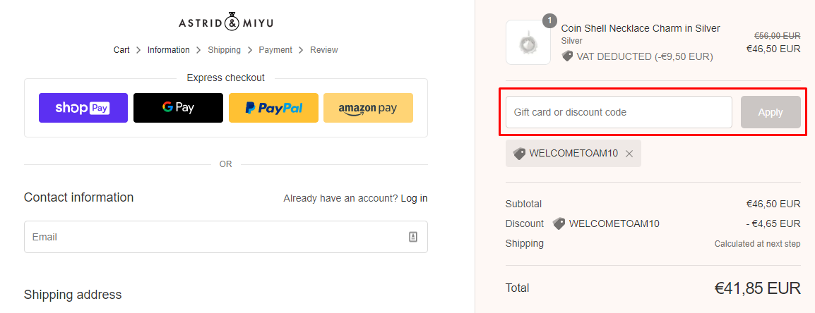 How do I use my Astrid & Miyu discount code?