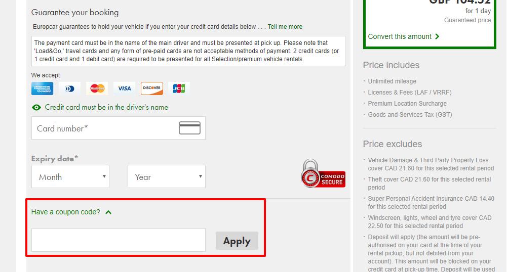 How do I use my Europcar discount code?