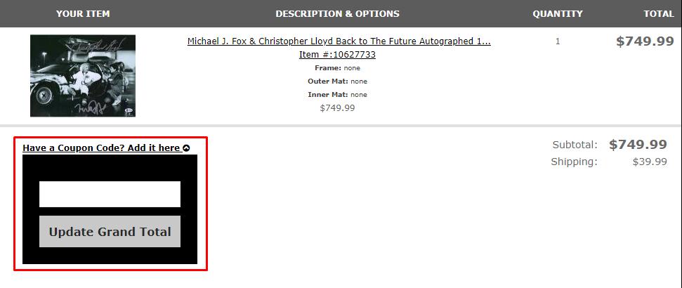 How do I use my Hollywood Memorabilia coupon code?