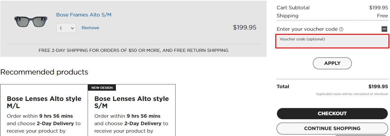 How do I use my Bose discount code?