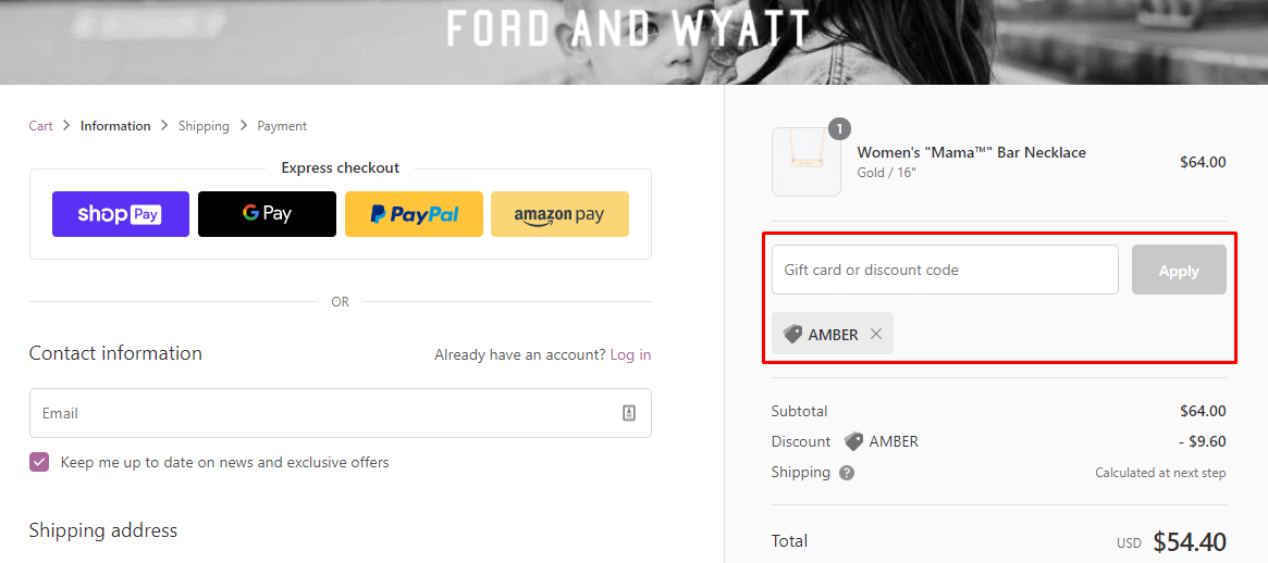 How do I use my Ford and Wyatt discount code?