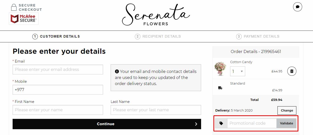 How do I use my Serenata Flowers discount code?