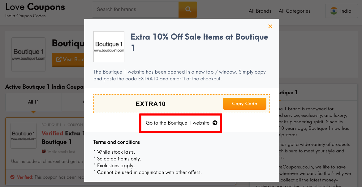Boutique 1 IN Get Coupon