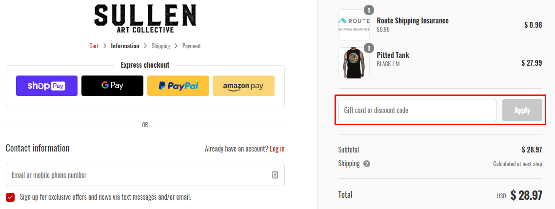 How do I use my Sullen Clothing discount code?