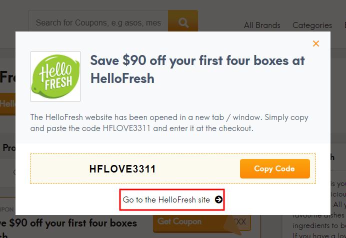 Go to HelloFresh site