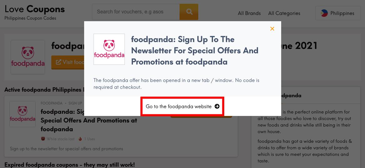 foodpanda PH Get Coupon
