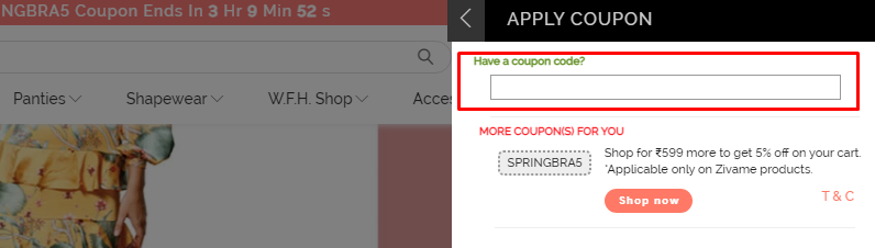 How do I use my Zivame coupon code?