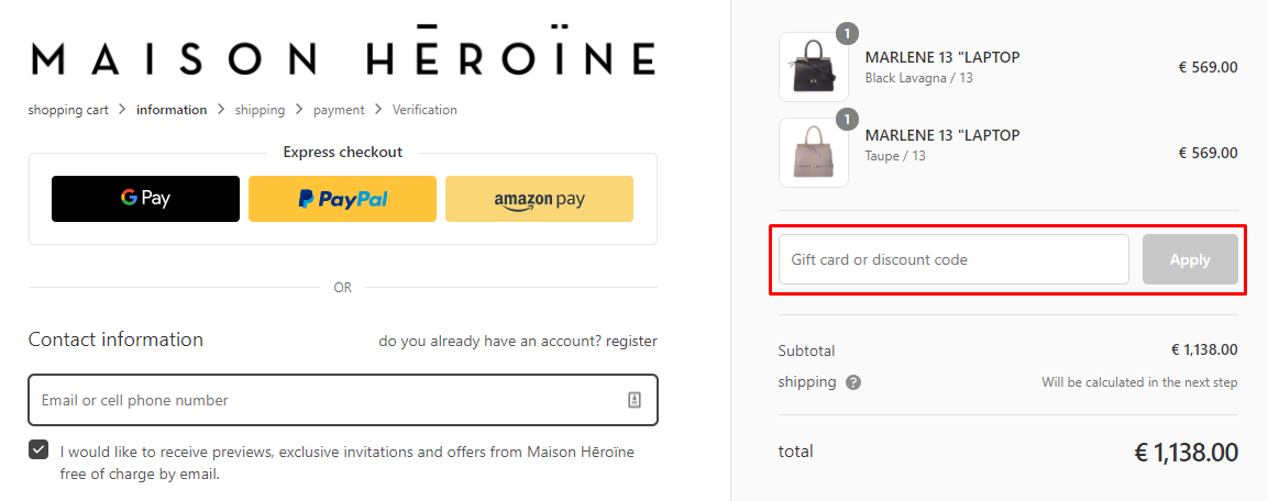 How do I use my Maison Heroine discount code?