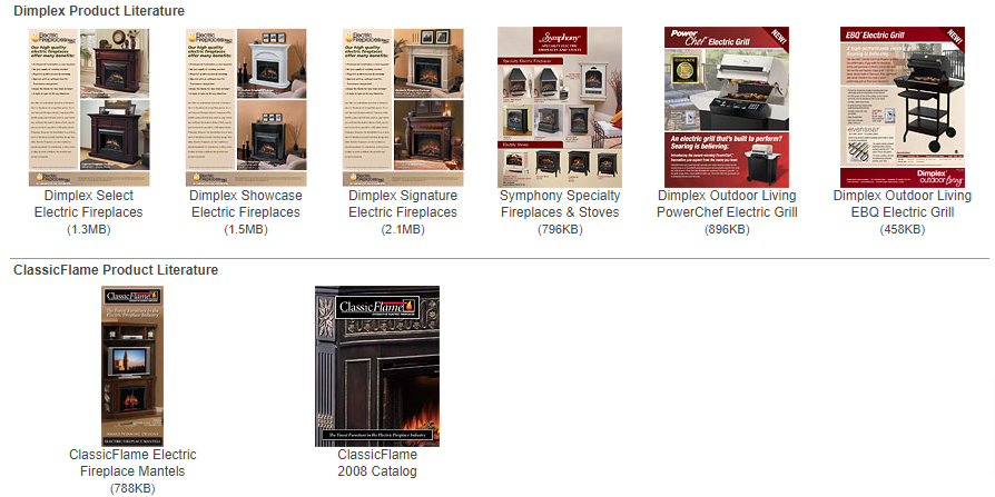 Electric Fireplaces Brochures