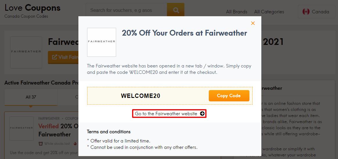 Fairweather Offer CA