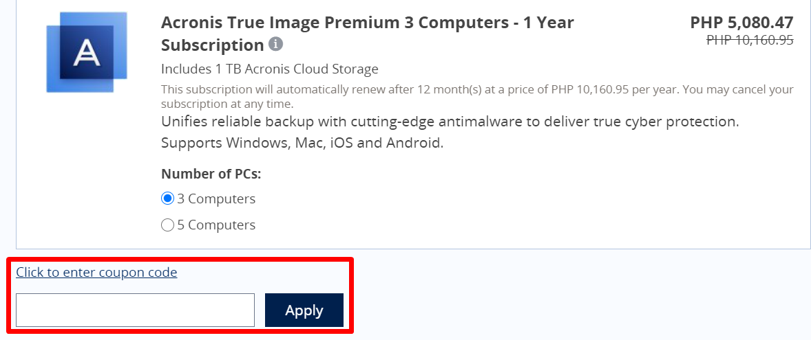 How do I use my Acronis coupon code?