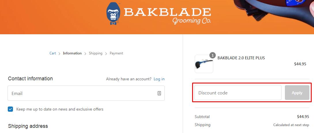How do I use my BAKblade discount code?
