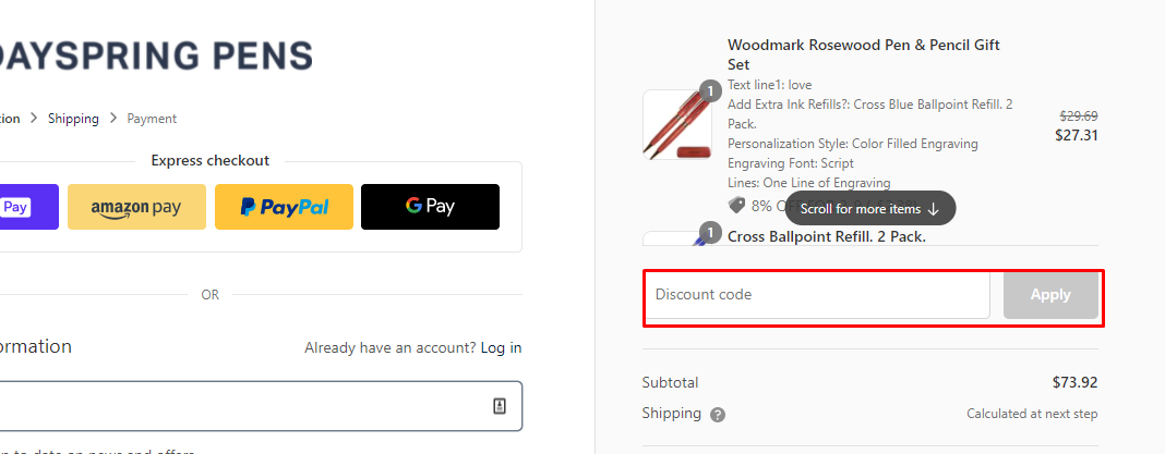 How do I use my Dayspring Pens discount code?