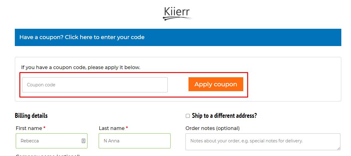 How do I use my Kiierr coupon code?