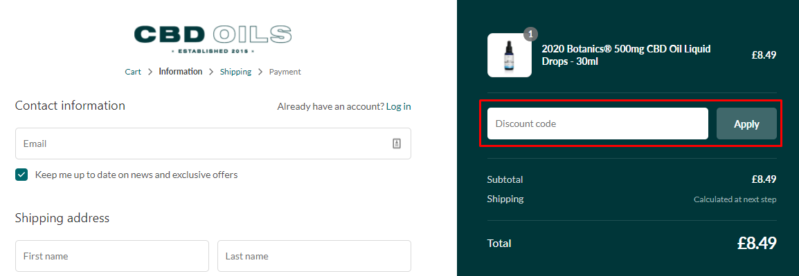 How do I use my CBD Oil discount code?