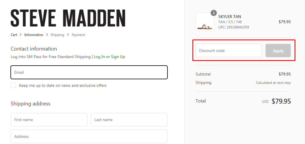 How do I use my Steve Madden discount code?