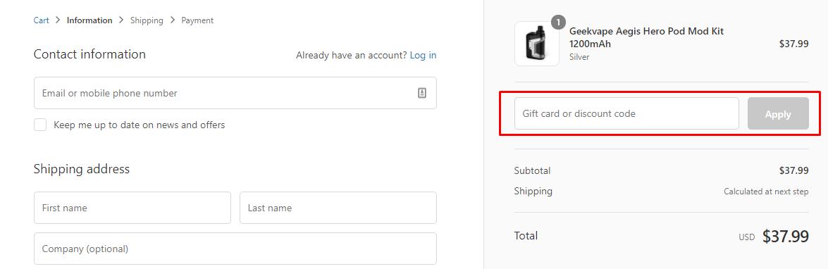 How do I use my Geekvape discount code?