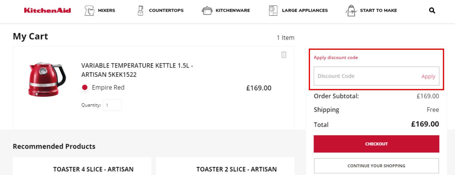 How do I use my KitchenAid discount code?