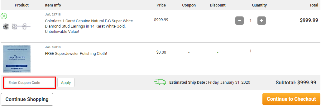 How do I use my SuperJeweler discount code?