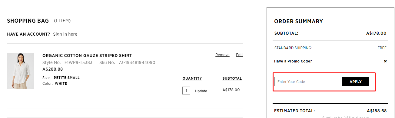 How do I use my Eileen Fisher promo code?