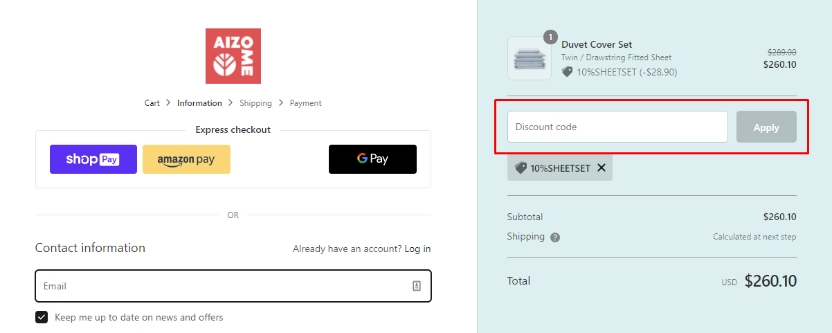 How do I use my Aizome Bedding discount code?