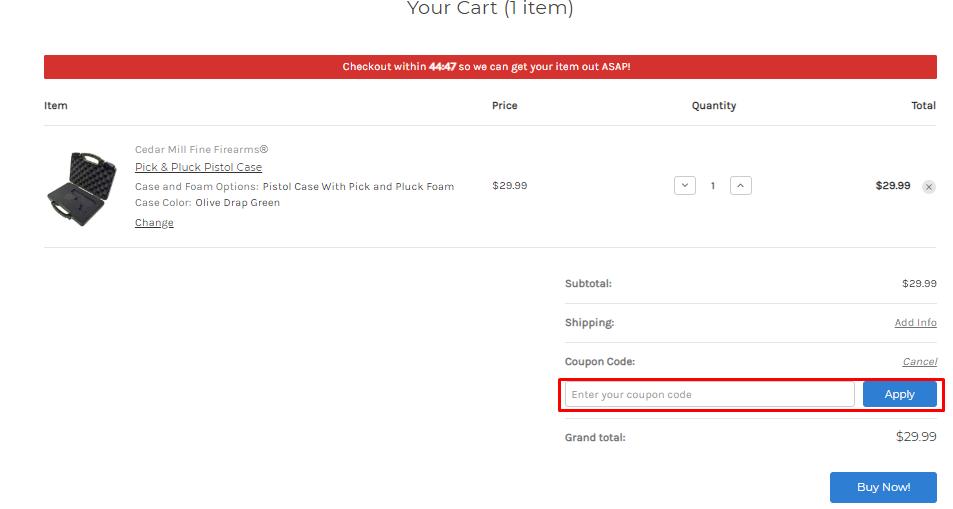 How do I use my Cedar Mill Fine Firearms discount code?