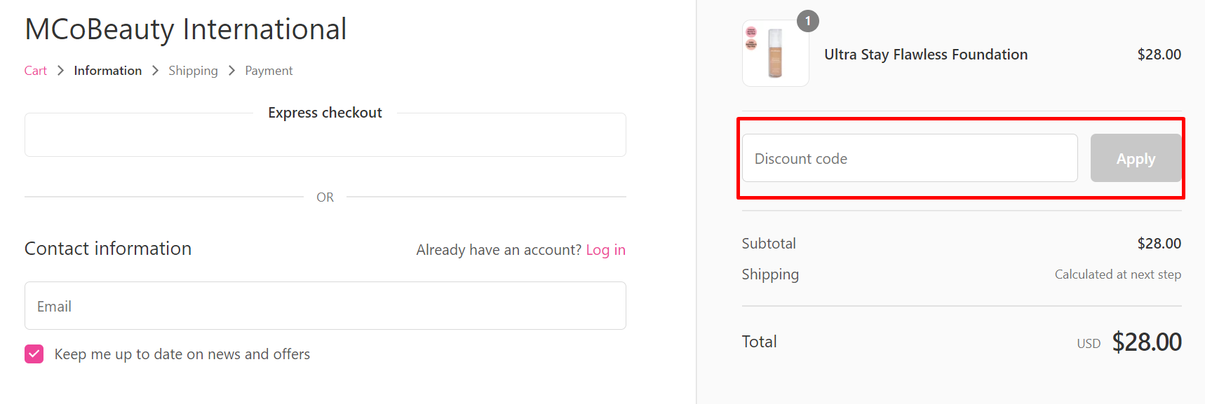 How do I use my MCoBeauty discount code?