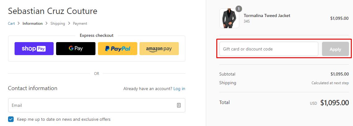 How do I use my Sebastian Cruz Couture discount code?
