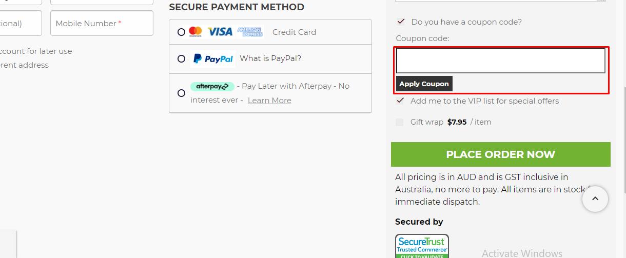 How do I use my Kitchenware.com.au coupon code?