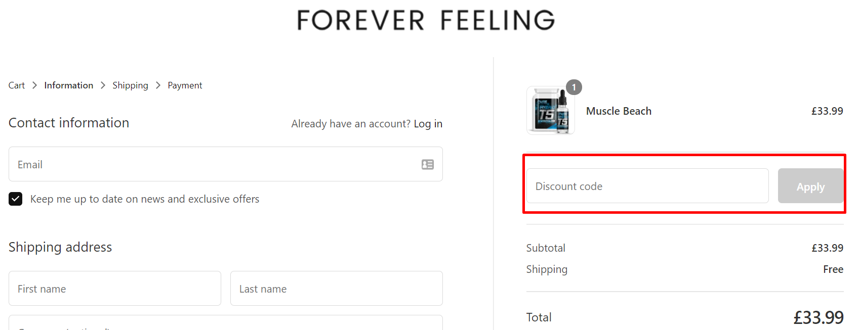 How do I use my Forever Feeling discount code?