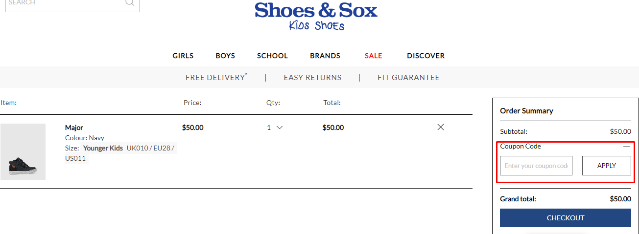 How do I use my Shoes & Sox discount code?