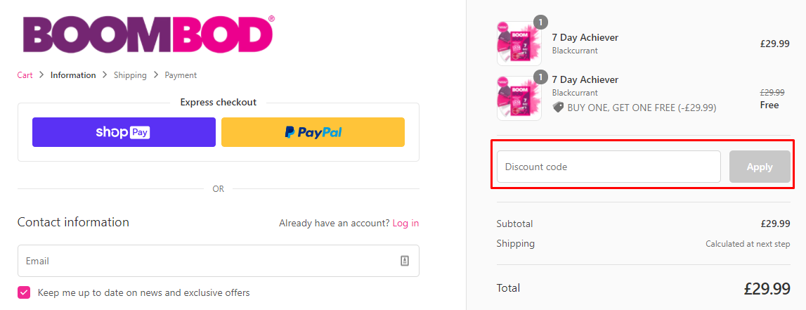 How do I use my BOOMBOD discount code?