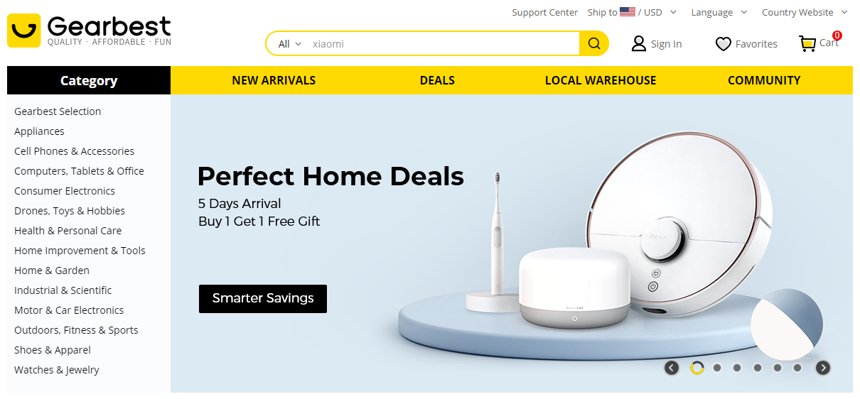 Gearbest Homepage