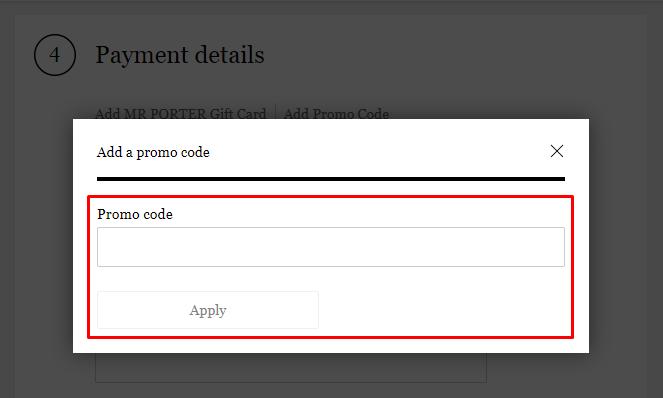 How do I use my MR PORTER promo code?