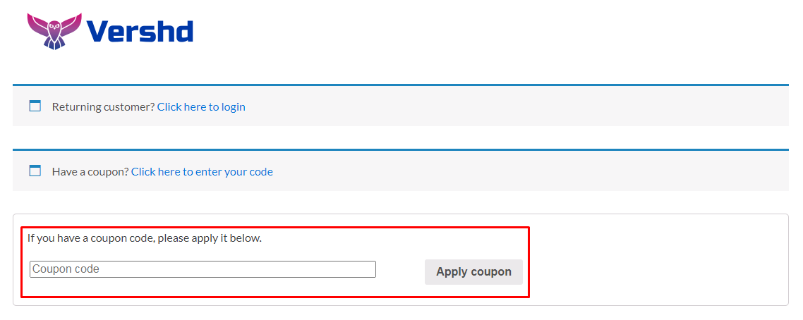 How do I use my Vershd coupon code?