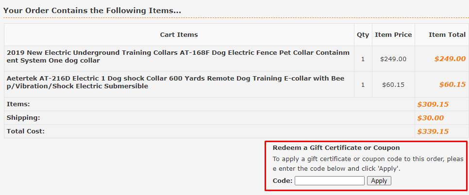 How do I use my Aetertek coupon code?
