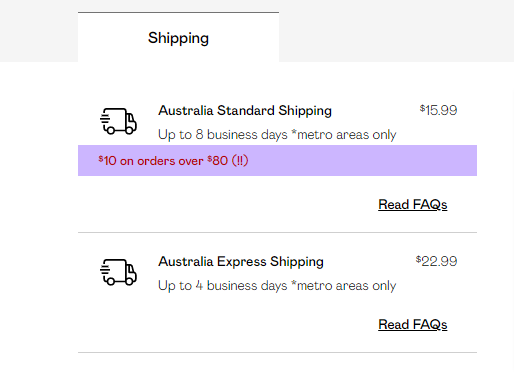 Nasty Gal shipping