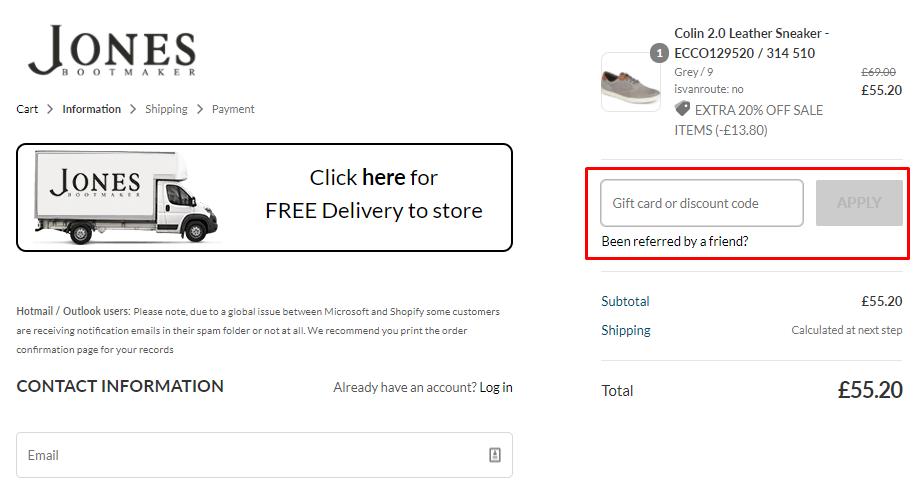 How do I use my Jones Bootmaker discount code?