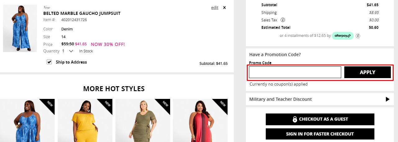 How do I use my Ashley Stewart promotional code?