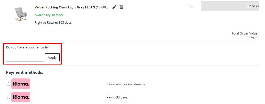 How do I use my Beliani voucher code?