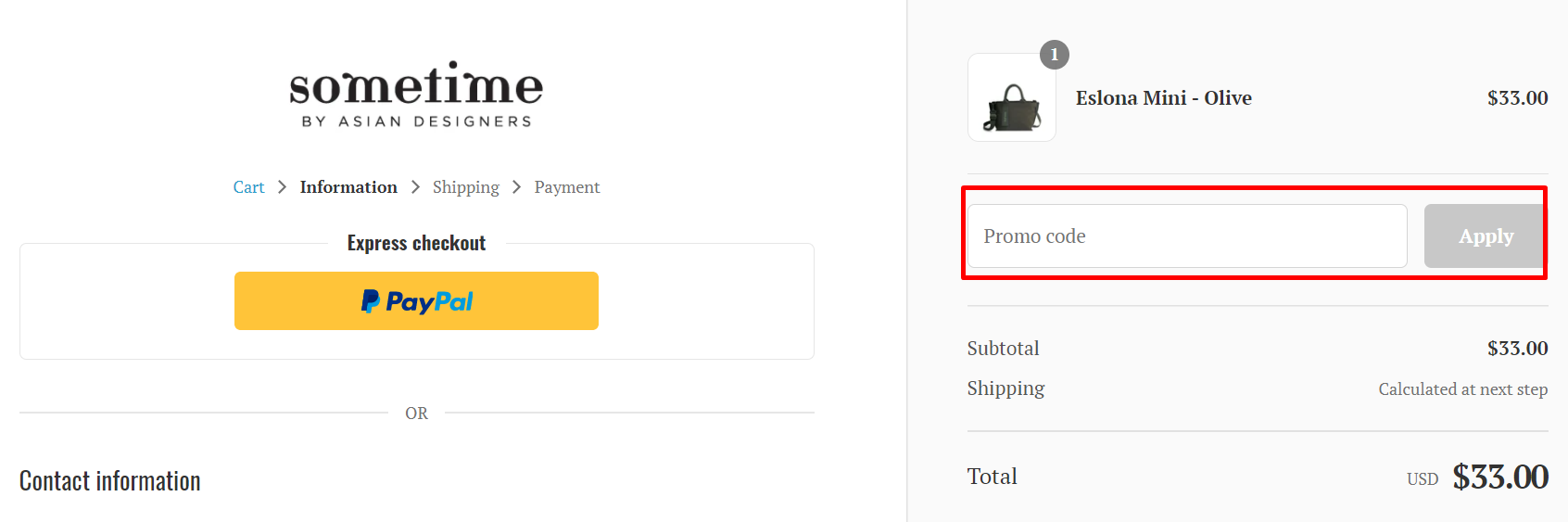 How do I use my Sometime By Asian Designers promo code?