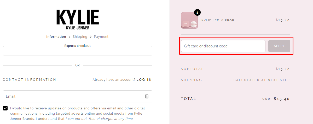 How do I use my Kylie Cosmetics discount code?
