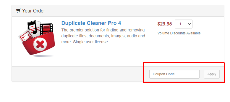 How do I use my Duplicate Cleaner coupon code?