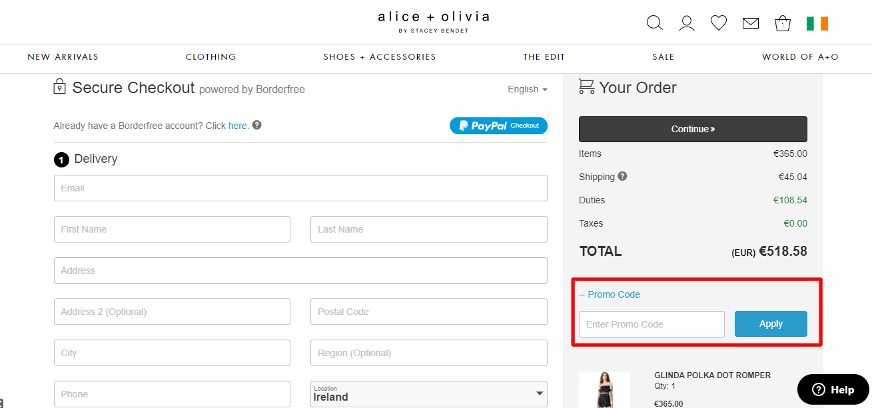 How do I use my alice + olivia promo code?