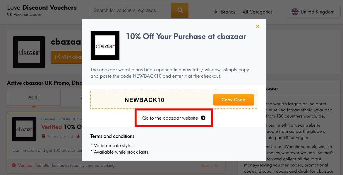 cbazaar UK Get Code